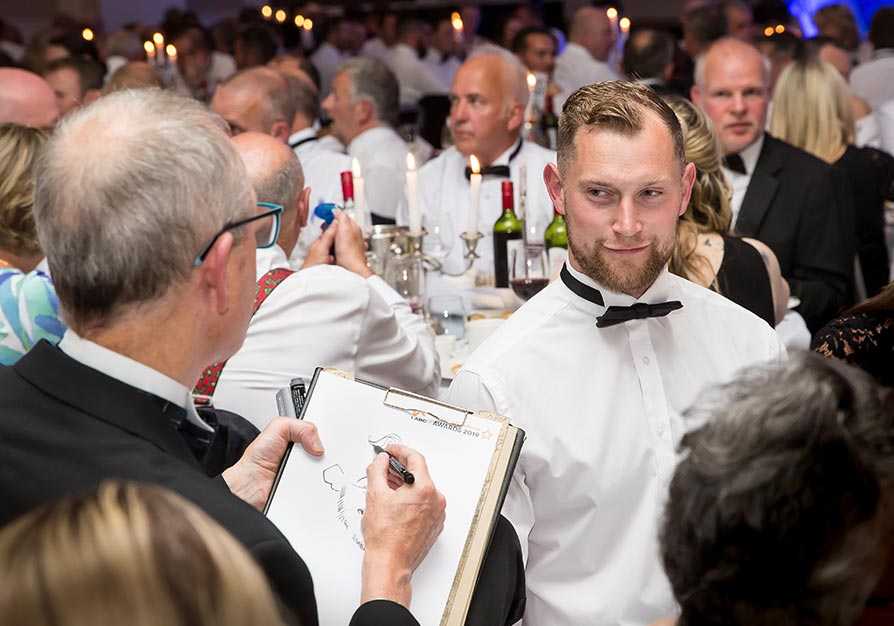 Caricaturist at the LABC South West Building Excellence Awards 2019