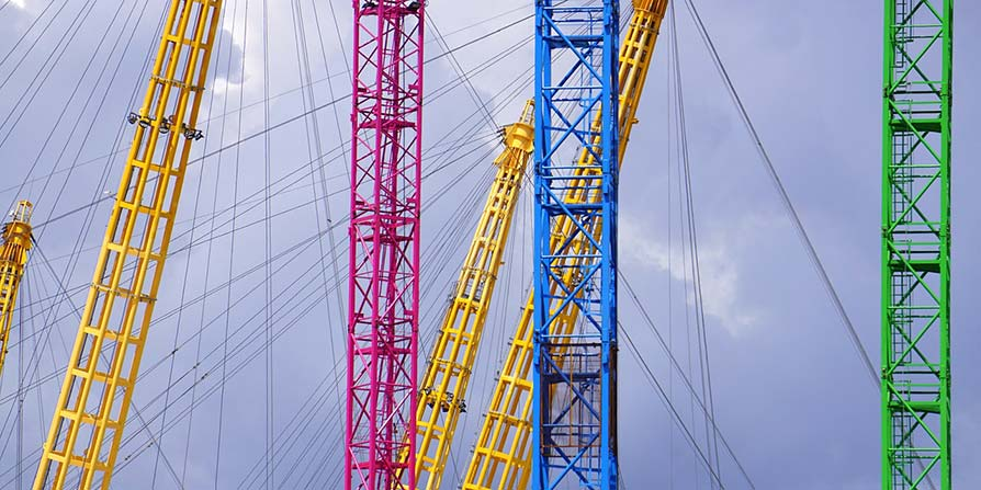 Close-up of coloured masts London O2 Arena