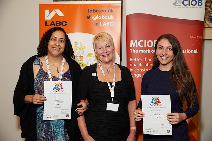 Graduates and their certificates at the LABC President's Reception 2019