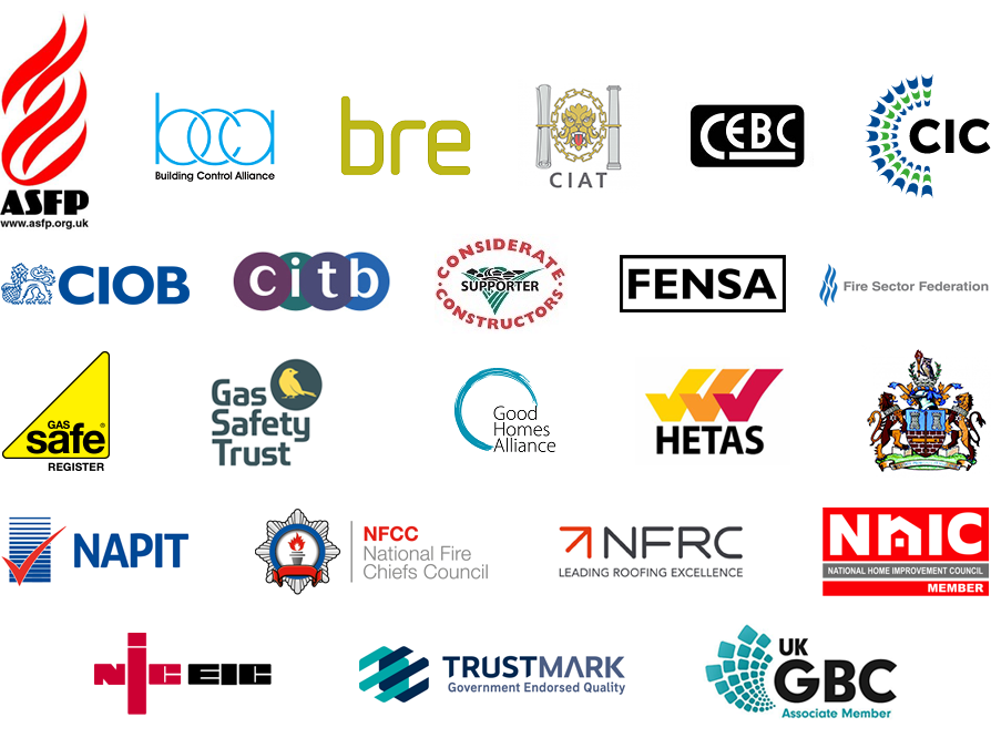 Logos of construction-related organisations supported by LABC