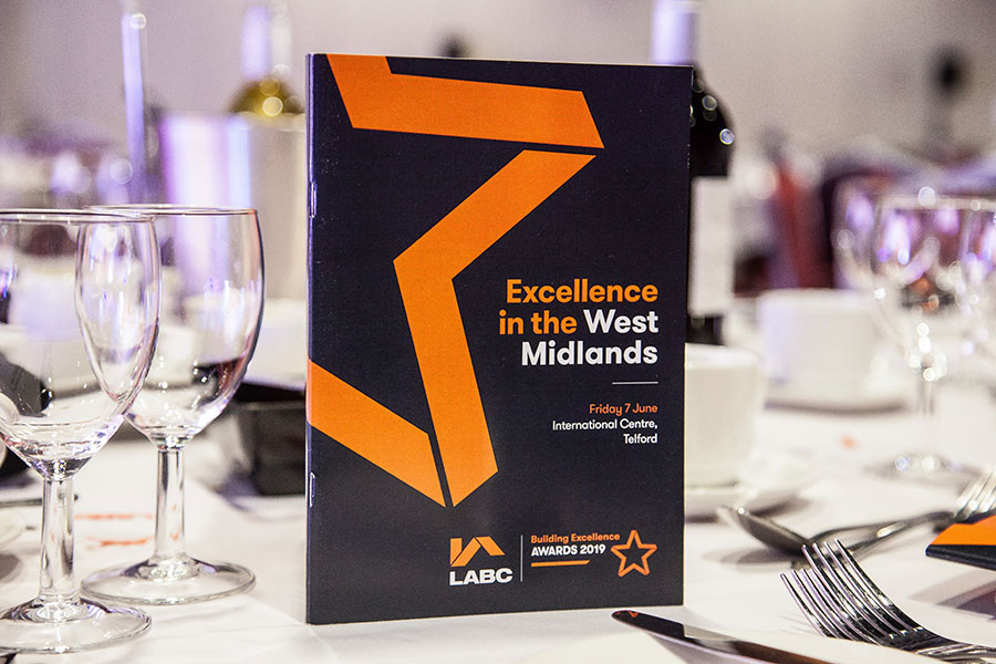 Programme at the LABC West Midlands Building Excellence Awards 2019
