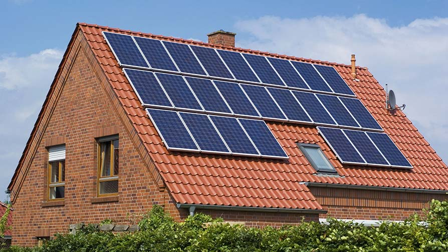 Solar panels installed on the roof of a house
