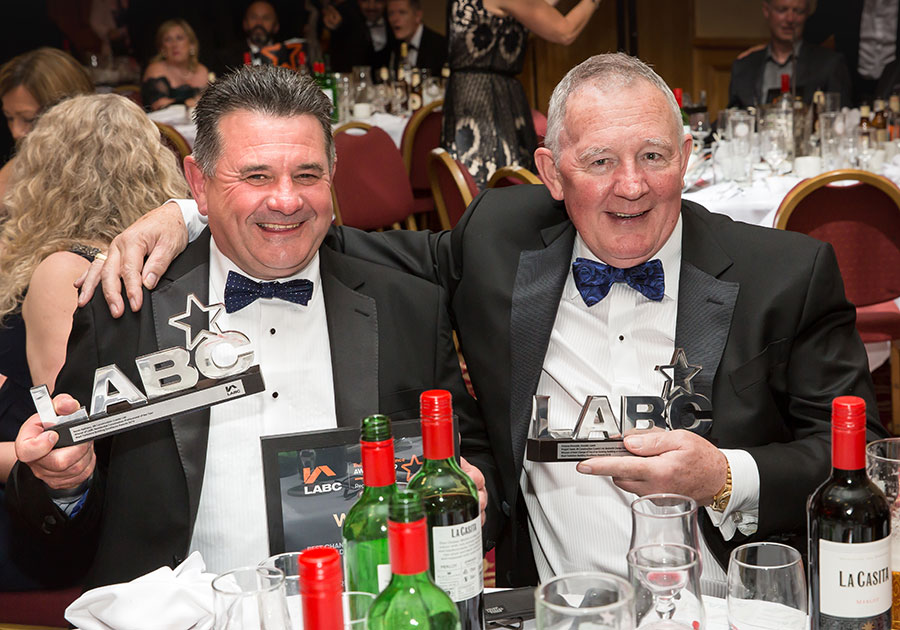 Winners and trophies at the LABC West Yorkshire Building Excellence Awards 2019