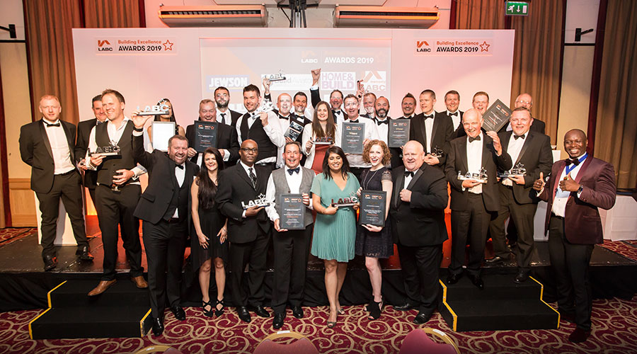 Winners on stage at the LABC West Yorkshire Building Excellence Awards 2019