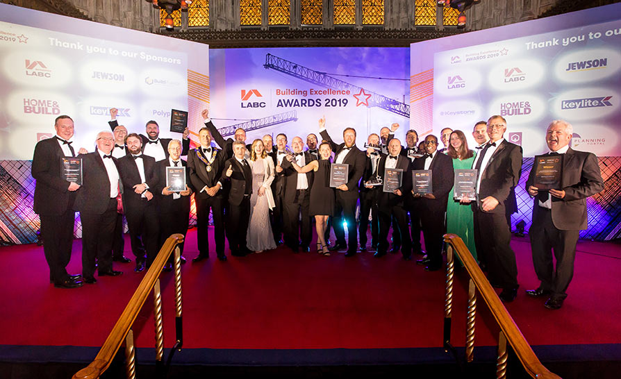 Winners on stage at the London Building Excellence Awards 2019