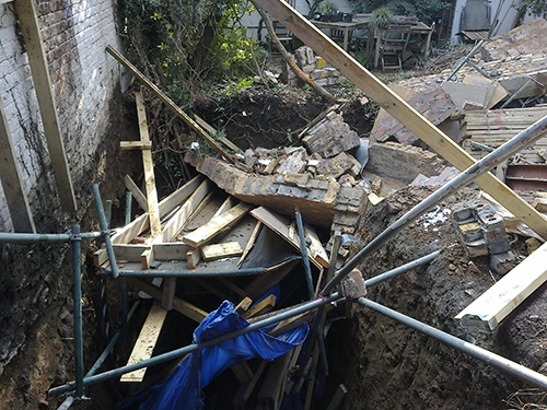 Basement extension collapse Kensington