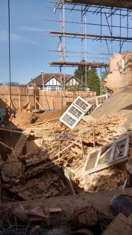 Basement collapse in Kingston, London - picture from Kingston Building Control team