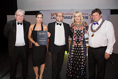 Pic of East Midlands attendees with Nicki Chapman at the LABC awards