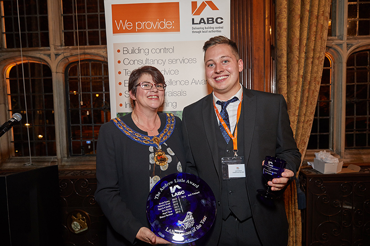 LABC trainee of the year 2016 Jack Pritchard with President Jayne Hall