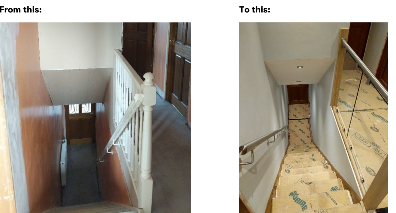 Handrail before and after -canva