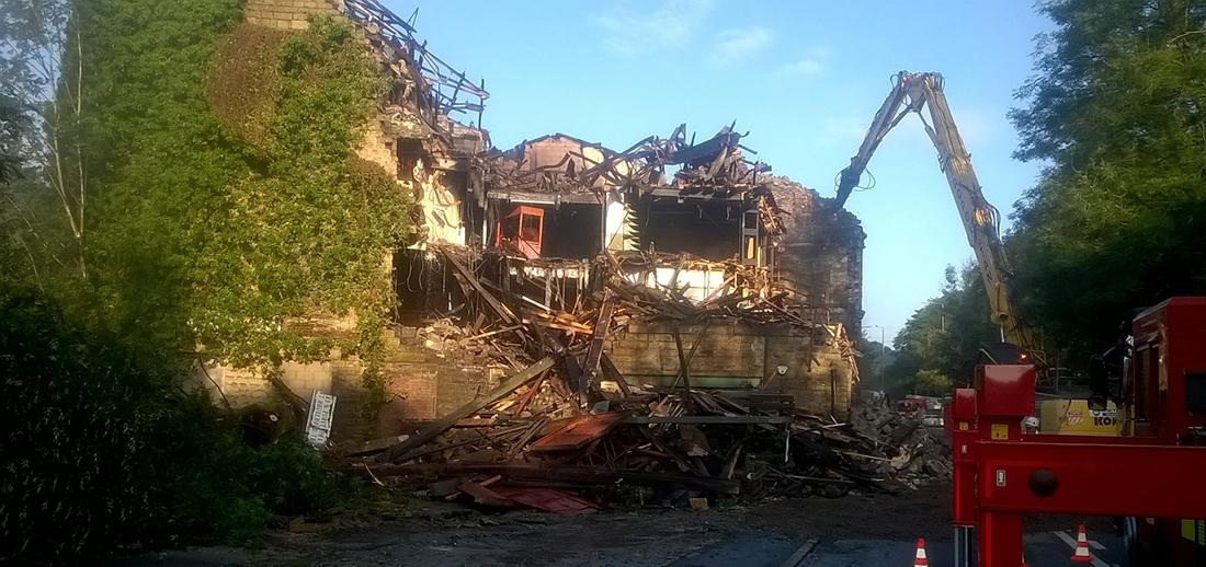 Former Walkley clog factory demolition following fire