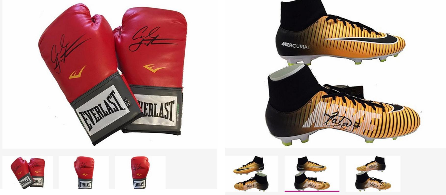 signed boxing gloves and football boots