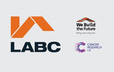 Logos for LABC, We Build The Future and Cancer Research UK - charity of the year 2019