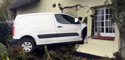 Van through wall - dangerous structure attended by Central Bedfordshire Building Control team