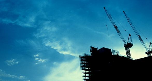 Construction site blue sky
