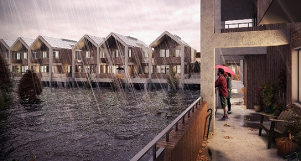 Flood resilient design by RIBA - picture showing rain on water